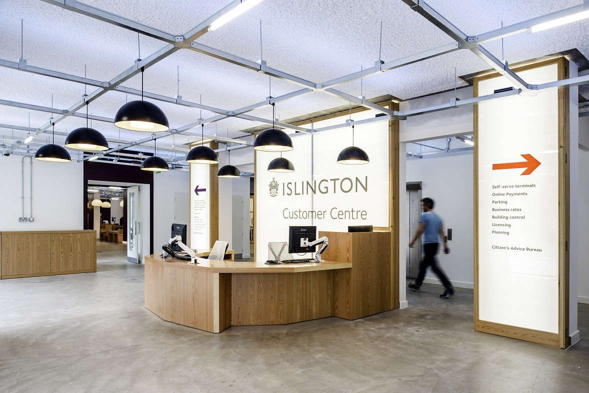 SonaSpray K-13 Special - Decorative acoustic ceiling and wall spray installed in Islington Customer Centre